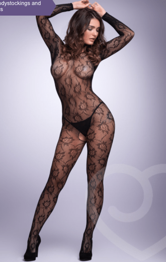 Hustler Long-Sleeve Floral Lace Crotchless Bodystocking Review