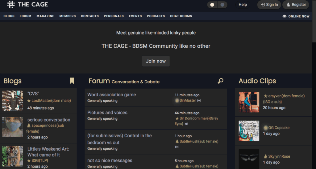 The Cage BDSM Community website